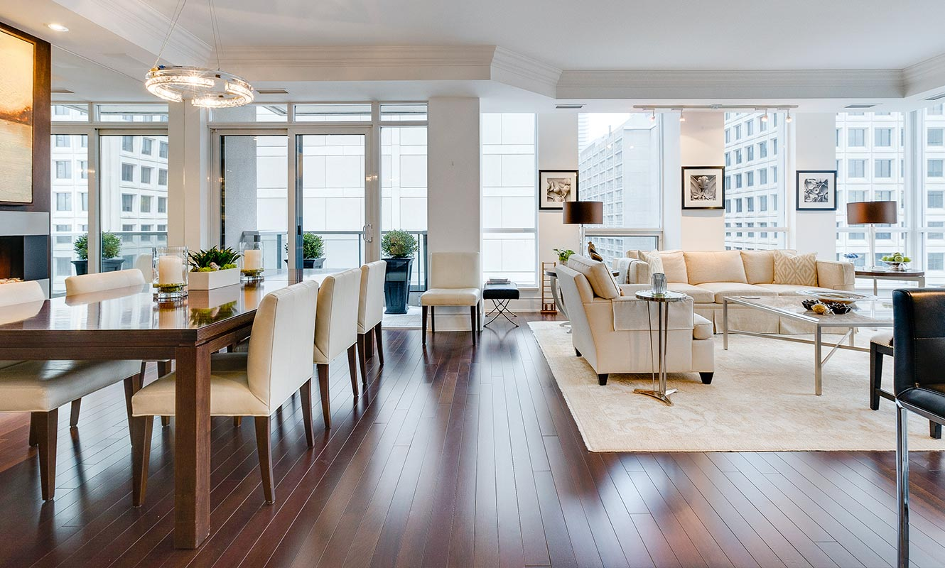 The interior of a luxury condo in Yorkville at 10 Bellair. Listing by agent Boris Kholodov.